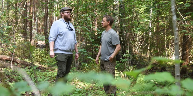 Skogsägaren Tero Ahava och naturvårdsexperten Jukka Ruutiainen står i hassellunden och diskuterar. Växtligheten runtomkring dem är grön och frodig.