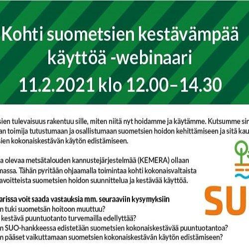 Kohti suometsien kestävämpää käyttöä -webinaari metsäalan toimijoille 11.2.2021.   Webinaarin aiheita:  🌲 Miten tuki su...