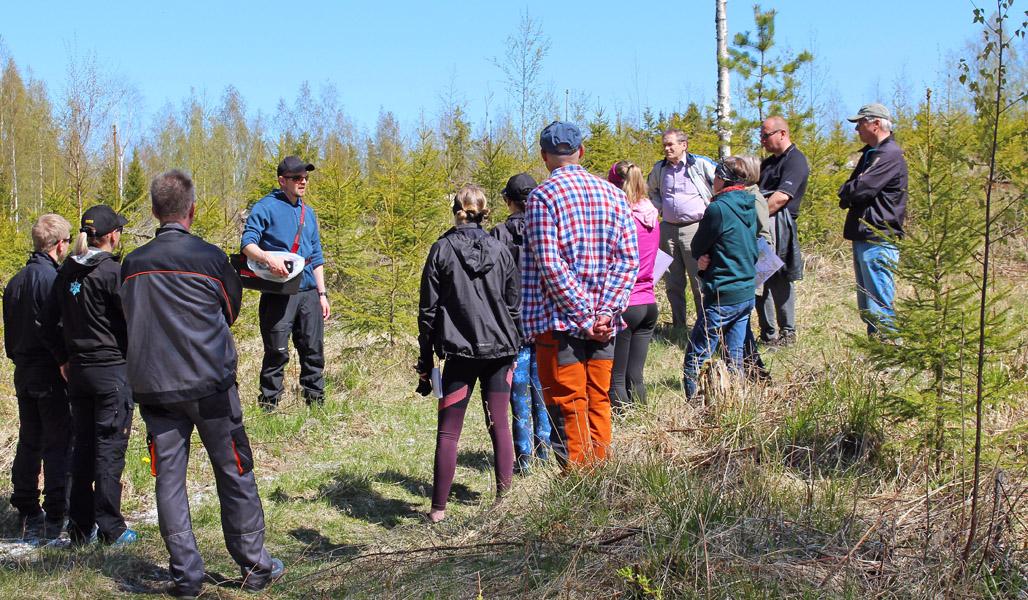 En grupp på över tio personer som ska plocka graskott har samlats i ring runt Arto Pulkkinen för att få intruktioner. I bakgrunden syns plantskog.