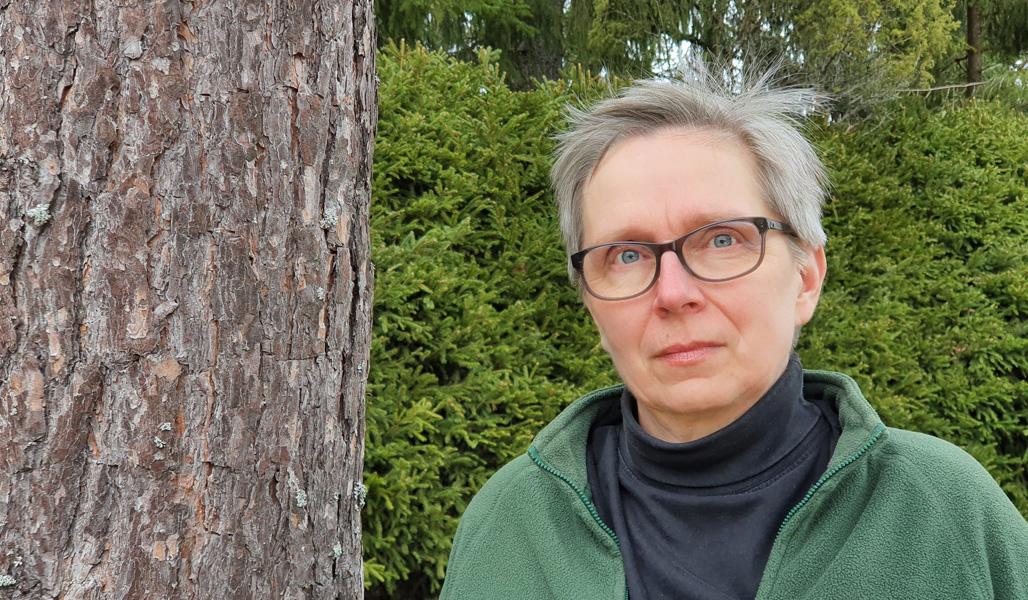 Heini Katajisto fotograferad vid en tall.