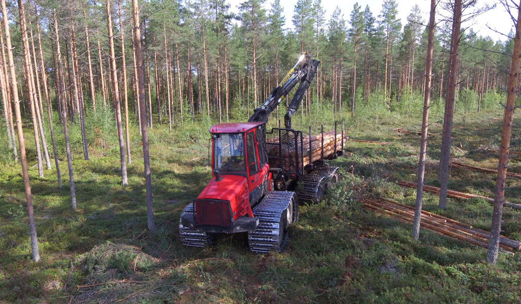 En avverkningsmaskin i torvmarksskog.