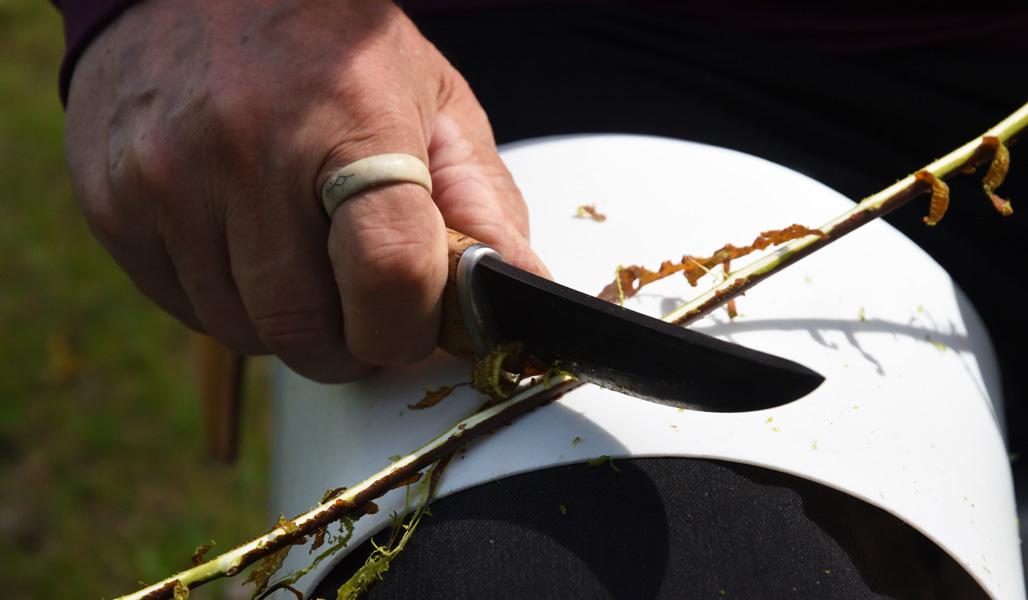 Närbild på en hand som skrapar en kvist med täljkniv.